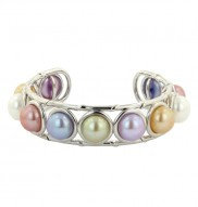 Sterling Silver 10-10.5mm Wildflower Button Freshwater Cultured Pearl Bangle Bracelet