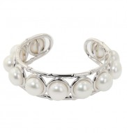 Sterling Silver 10-10.5mm White Button Freshwater Cultured Pearl Bangle Bracelet