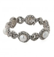 Sterling Silver 10-10.5mm White Button Freshwater Cultured Pearl Link Bracelet