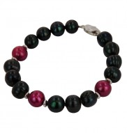 Sterling Silver 10-11mm Jet and Cherry Ringed Freshwater Cultured Pearl Stretch Bracelet