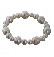7-12mm White Ringed Freshwater Cultured Pearl Stretch Bracelets