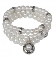 Set of Three Sterling Silver 7-8mm White Freshwater Cultured Pearl 7.5 Inch Stretch Bracelets