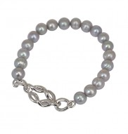 Sterling Silver 7-8mm Grey Freshwater Cultured Pearl 7.5 Inch Stretch Bracelet