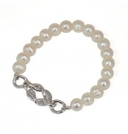 Sterling Silver 7-8mm White Freshwater Cultured Pearl 7.5 Inch Stretch Bracelet