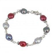Sterling Silver 9-10mm Black Cherry Baroque Freshwater Cultured Pearl 7.5 Inch Bracelet