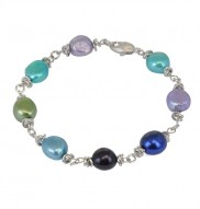 Sterling Silver 9-10mm Peacock Baroque Freshwater Cultured Pearl 7.5 Inch Bracelet
