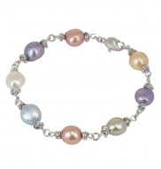 Sterling Silver 9-10mm Wildflower Baroque Freshwater Cultured Pearl 7.5 Inch Bracelet