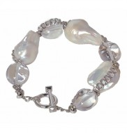 Sterling Silver 18-18.5mm White Nucleated Baroque Freshwater Cultured Pearl and Quartz Rock 8 Inch Bracelet