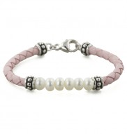Sterling Silver 5.5-6mm White Freshwater Cultured Pearl and Pink Leather 6 Inch Girls Bracelet