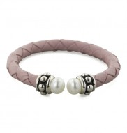 Sterling Silver 7-7.5mm White Freshwater Cultured Pearl and Pink Leather 6 Inch Girls Bracelet