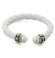 Sterling Silver 7-7.5mm White Freshwater Cultured Pearl and White Leather 6 Inch Girls Bracelet