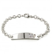 Sterling Silver Pink Mother of Pearl Bow 6 Inch Girls ID Bracelet