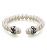 Sterling Silver 6-7.5 mm White Freshwater Cultured Pearl 6 Inch Girls Cuff Bracelet