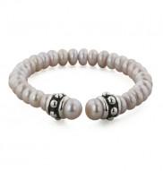 Sterling Silver 6-7.5 mm Plum Freshwater Cultured Pearl 6 Inch Girls Cuff Bracelet
