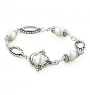 Sterling Silver 7.5-9mm White Freshwater Cultured Pearl 7.5 Inch Pallini Toggle Bracelet