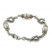 Sterling Silver 7-7.5mm Plum Freshwater Cultured Pearl 6 Inch Girls Bracelet