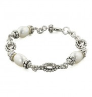 Sterling Silver 7-7.5mm White Freshwater Cultured Pearl 6 Inch Girls Bracelet
