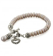 Sterling Silver 5.5-6mm Plum Freshwater Cultured Pearl 6 Inch Girls Toggle Bracelet