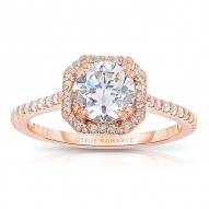 Rm1309rs-14k Rose Gold Round Cut Halo Diamond Engagement Ring