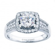 Rm1375-14k White Gold Halo Engagement Ring