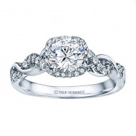 Rm1405 -14k White Gold Round Cut Halo Diamond Infinity Engagement Ring
