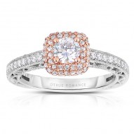 Rm1434rrs -14k Rose Gold Round Cut Double Halo Diamond Vintage Engagement Ring
