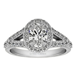 Oval Cut Split Shank Halo Diamond Engagement Ring
