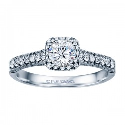 Rm1457 -14k White Round Cut Cushion Halo Diamond Vintage Engagement Ring