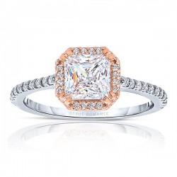 Rm1309ptt-14k Rose Gold Princess Cut Halo Diamond Engagement Ring
