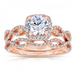 Rm1390r_set -14k Rose Gold Round Cut Halo Diamond Infinity Engagement Ring