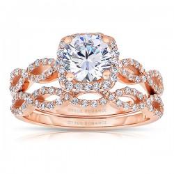 Rm1390r_set -14k Rose Gold Round Cut Halo Diamond Infinity Engagement Ring