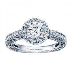 Rm1403 -14k White Gold Round Cut Double Halo Diamond Vintage Engagement Ring