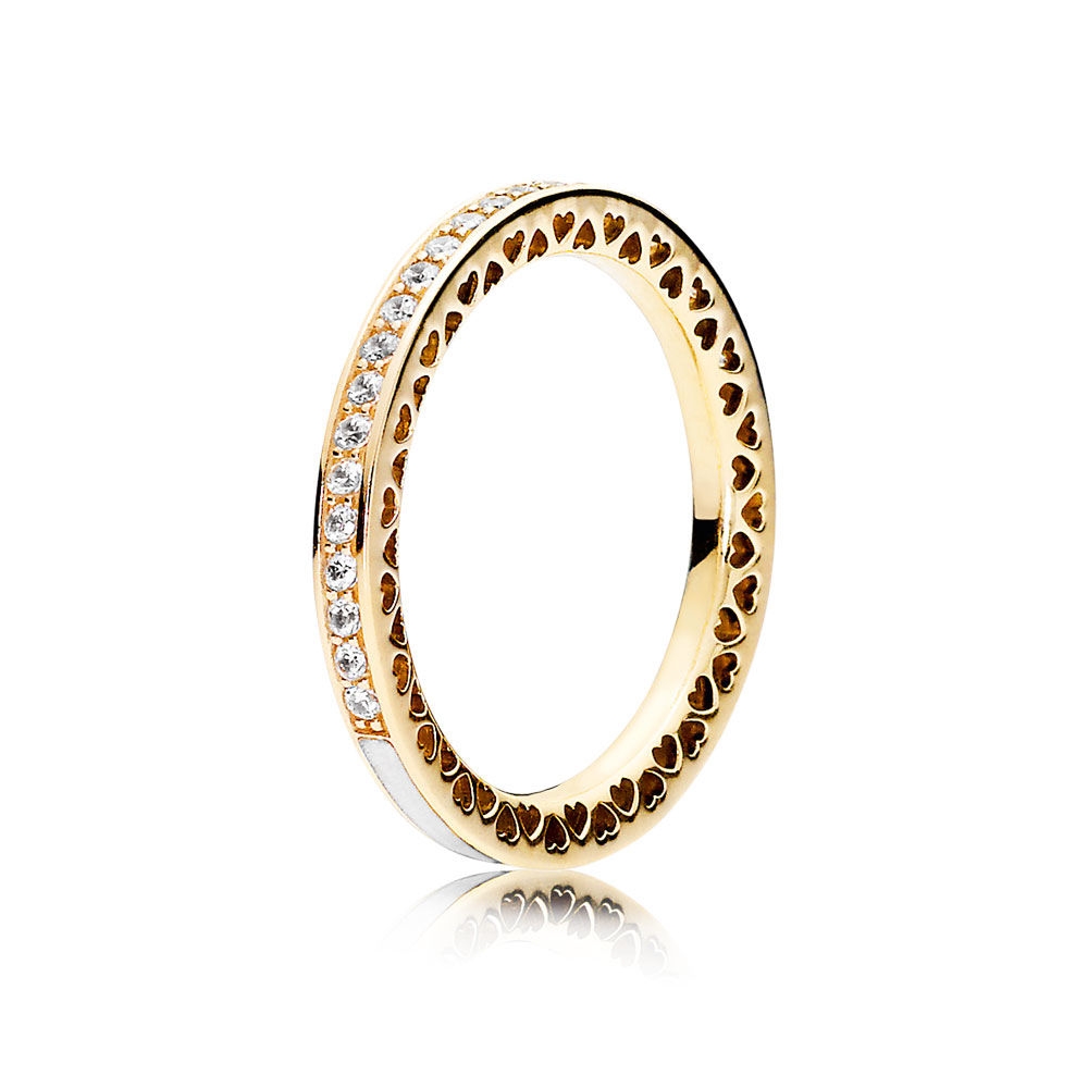 Radiant Hearts of Pandora Ring in 14kt Gold with Clear CZ