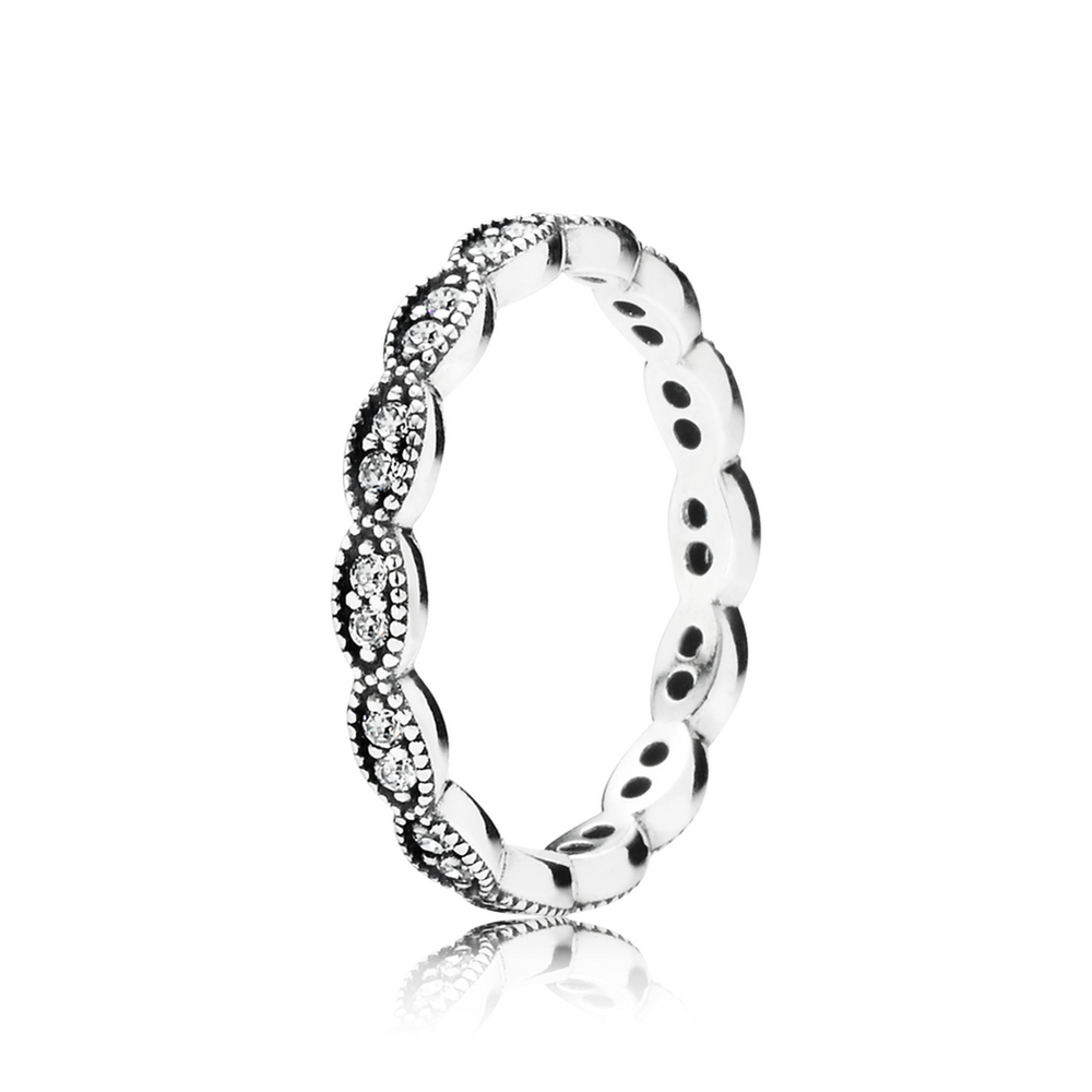 Sparkling Leaves Stackable Ring with Clear CZ