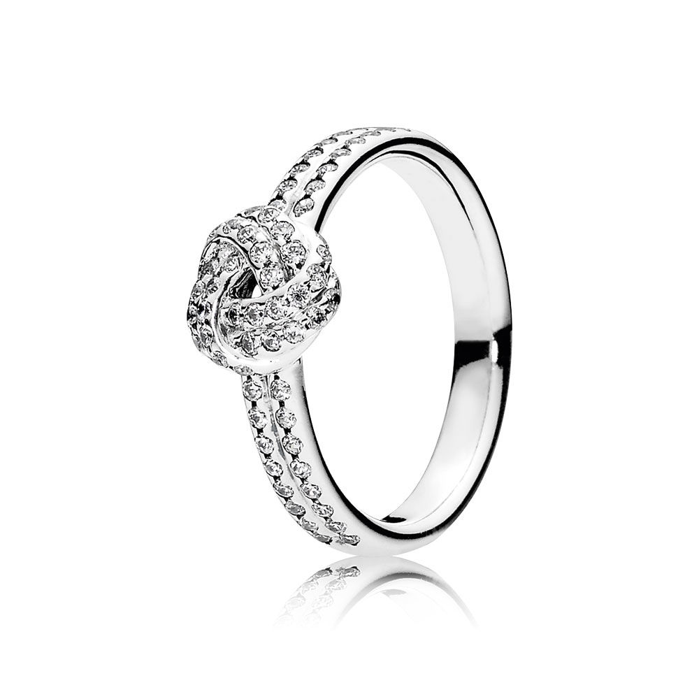 Pandora Sparkling Love Knot Ring with Clear CZ