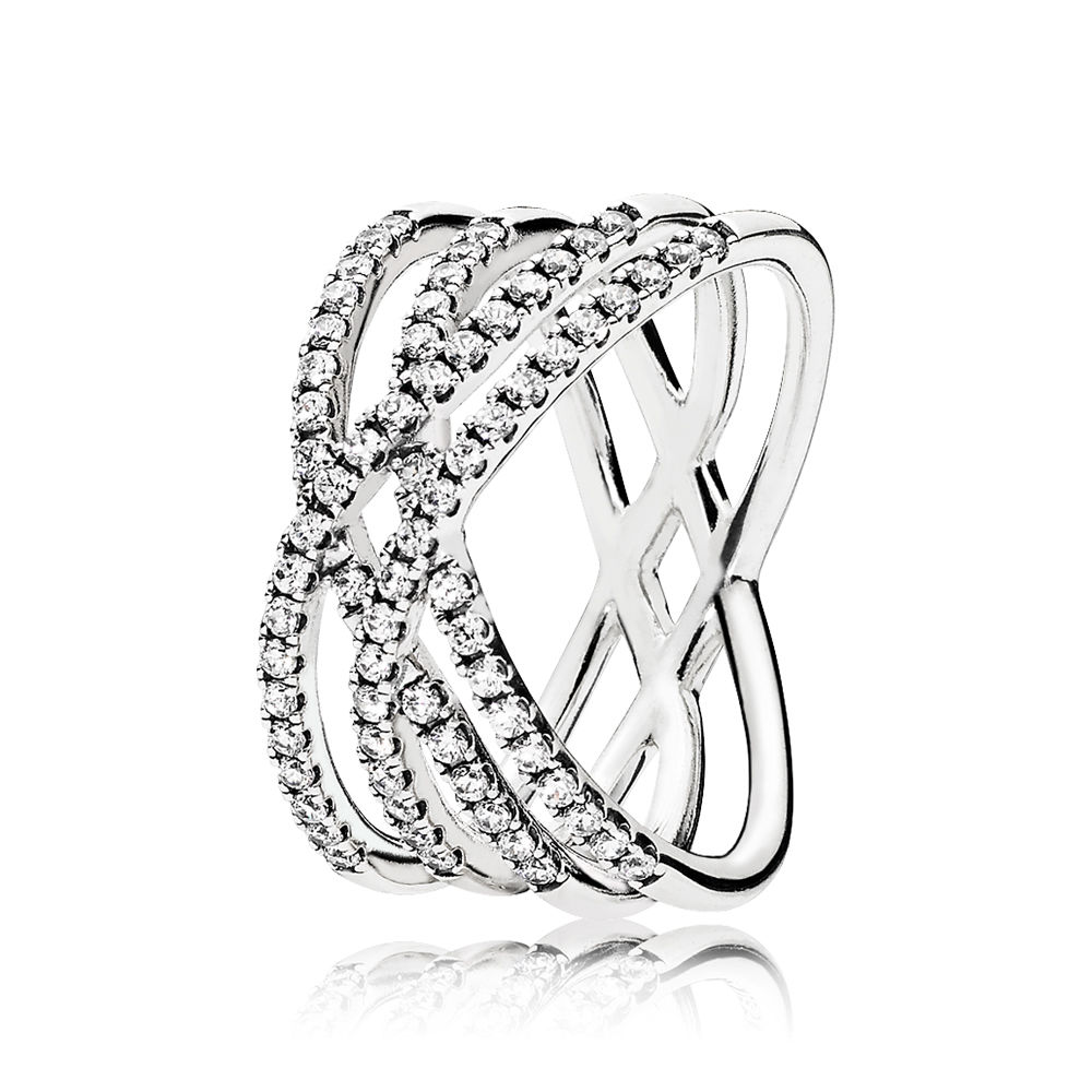 Cosmic Lines Ring, Clear CZ