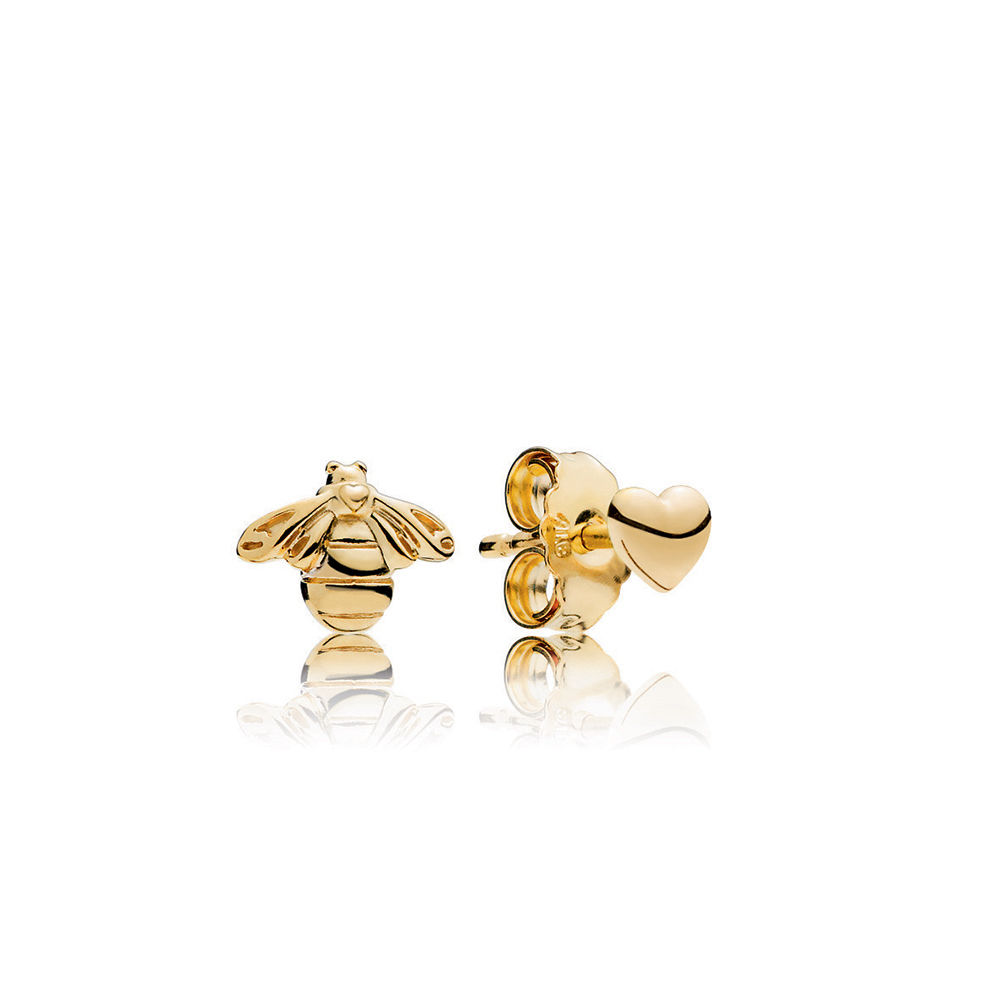 Heart & Bee Stud Earrings